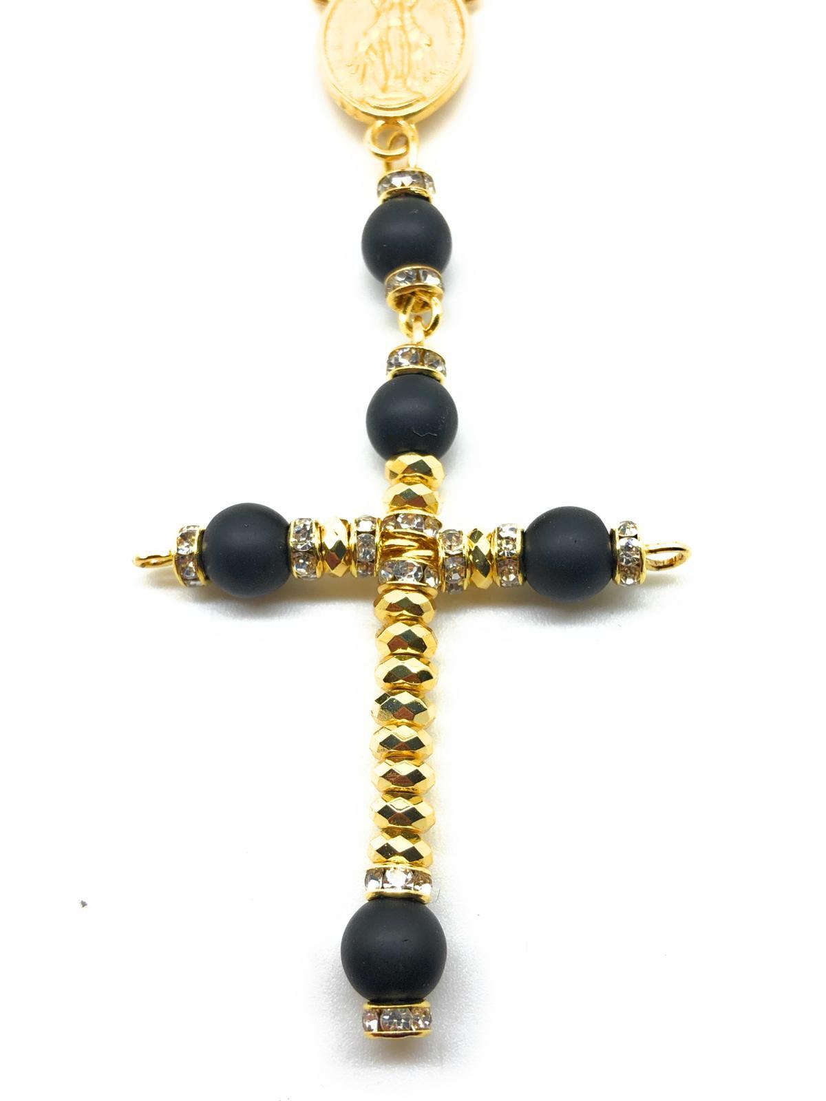 Collana rosario in acciaio dorato SGM5