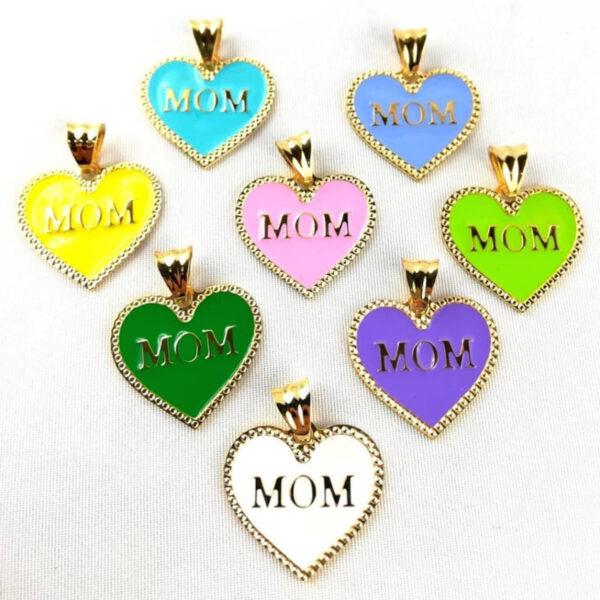 """Ciondolo cuore """"MOM"""" con catenina in argento 925"""
